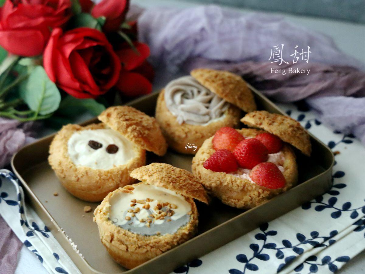 板橋站 | 鳳甜烘培 Feng bakery 菠蘿餅乾泡芙 閃電泡芙 季節限定草莓/玫瑰花芋泥